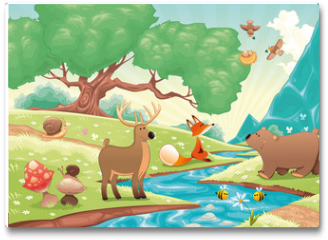 Plakat - Animals in the wood. Vector landscape, isolated objects.