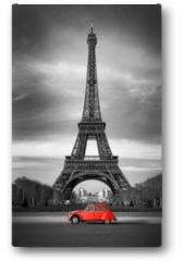 Plakat - Tour Eiffel et voiture rouge- Paris