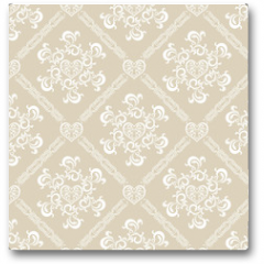 Plakat - Seamless White Floral Pattern