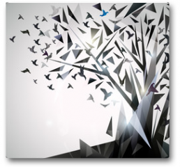 Plakat - Abstract Tree with origami birds.