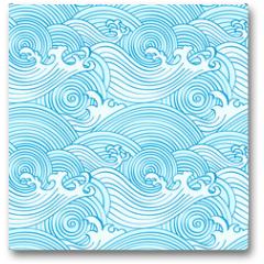 Plakat - Japanese seamless waves pattern in ocean colors