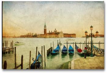 Plakat - Venezia - Isola di San Giorgio su texture retro