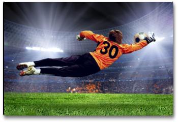 Plakat - Football goalman on the stadium field