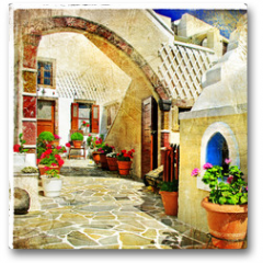 Plakat - pictorial streets of Santorini