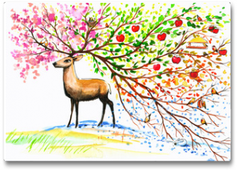 Plakat - Deer-four seasons.