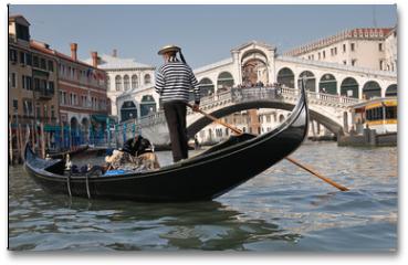 Plakat - Gondolier, Rialto Bridge, Grand Canal, Venice, Italy