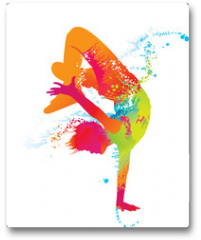 Plakat - The dancing boy with colorful spots and splashes. Vector