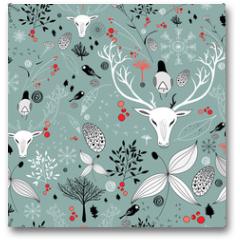Plakat - beautiful texture with portraits of deer