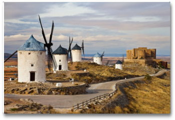 Plakat - windmills of Don Quixote -traditional Spain