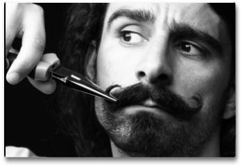 Plakat - taglio di baffi con forbici