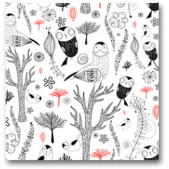 Plakat - forest pattern with owls
