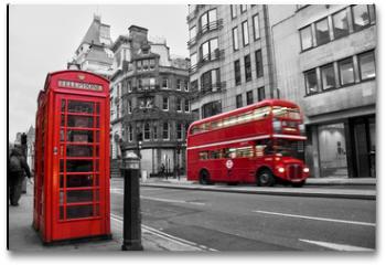 Plakat - Cabine téléphonique et bus rouges à Londres (UK)