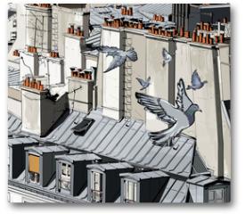 Plakat - roofs in Paris