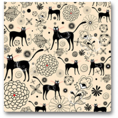 Plakat - Flower texture with cats