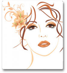 Plakat - Portrait of beautiful woman with lilies in hair