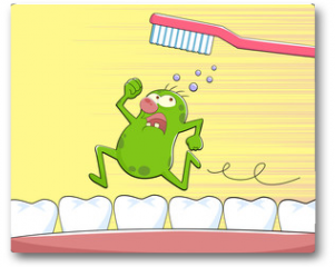 Plakat - germ running away from a tooth brush