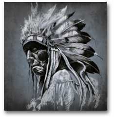 Plakat - Tattoo art, portrait of american indian head over dark backgroun