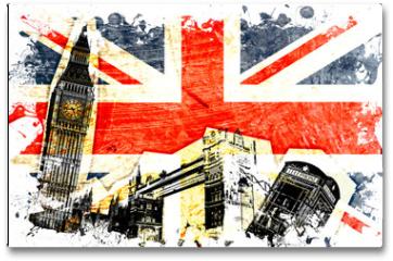 Plakat - drapeau anglais decoupe