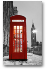 Plakat - London Telephone Booth and Big Ben