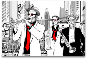 Plakat - jazz band in a street of new-York