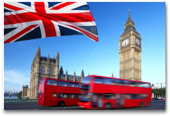 Plakat - Big Ben with city bus and flag of England, London