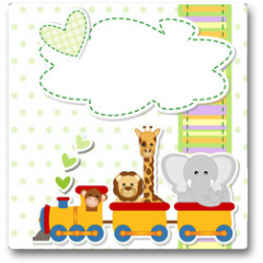 Plakat - baby shower - train - trenino con animali