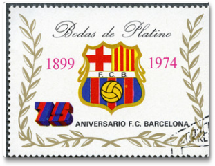 Plakat - EQUATORIAL GUINEA - 1974: shows label of Barcelona Soccer Team