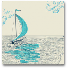 Plakat - Sailing vector background