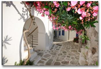 Plakat - Small backstreet on Amorgos island, Greece
