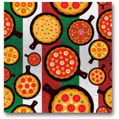 Plakat - Italian pizza flavors pattern