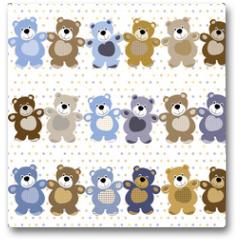Plakat - vector seamless pattern of a toy teddy bear