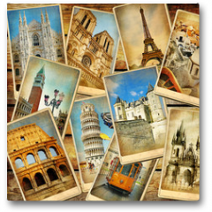 Plakat - vintage travel collage background