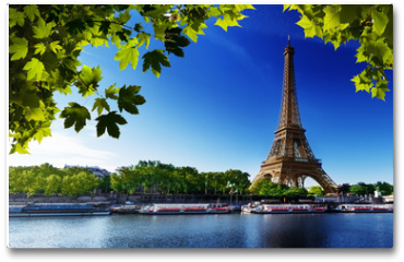 Plakat - Seine in Paris with Eiffel tower