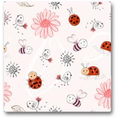 Plakat - Sweet babies doodle hand draw seamless pattern.