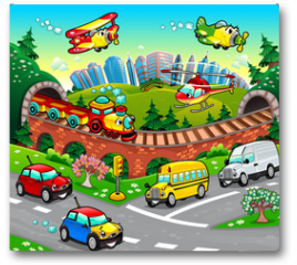 Plakat - Funny vehicles in the city. Cartoon and vector illustration.