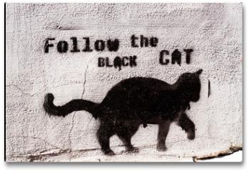 Plakat - black cat graffiti
