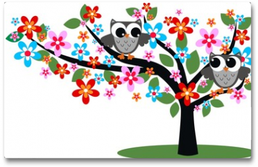 Plakat - two owls sitting in a tree