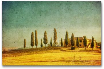 Plakat - vintage tuscan landscape