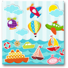 Plakat - set of sea and air transport