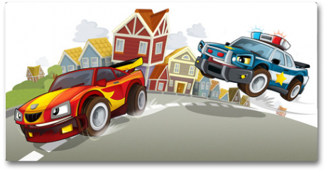 Plakat - Sports car racing in the suburbs of the city