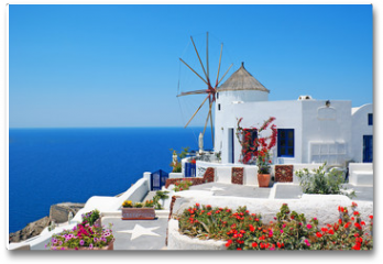 Plakat - Traditional architecture of Oia village at Santorini island in G