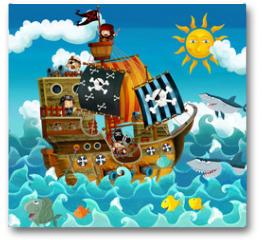 Plakat - The pirates on the sea - illustration for the children
