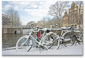 Plakat - Snowy Amsterdam in the Netherlands