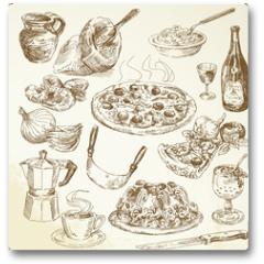 Plakat - hand drawn pizza set