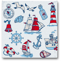 Plakat - Nautical Sea Design Elements -for scrapbook and design in vector