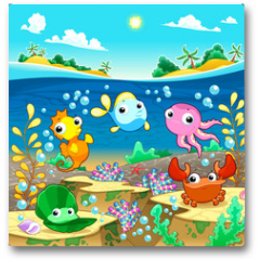 Plakat - Happy marine family under the sea.