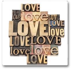 Plakat - love word in wood type