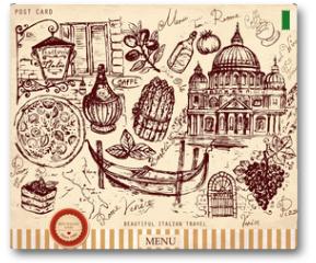 Plakat - Vector hand drawn card with italian symbols