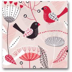 Plakat - Romantic seamless floral pattern
