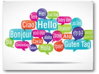 Plakat - nuage de mots bulles : bonjour traduction
